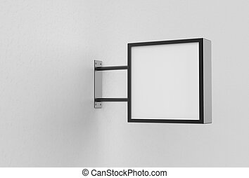 quadrato, cartello, wall., bianco, illustrating., 3d