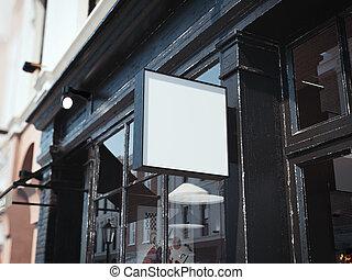 quadrato, cartello, wall., scuro, interpretazione, nero, 3d