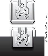 quadrato, ciao-tecnologia, etichette, attaccato, vettore, asse, circuito