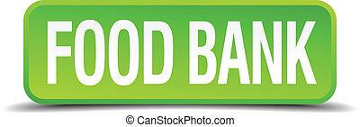 quadrato, cibo, bottone, isolato, realistico, verde, banca, 3d