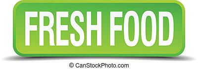 quadrato, cibo, bottone, isolato, realistico, verde, fresco, 3d