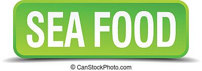 quadrato, cibo, bottone, isolato, realistico, verde, mare, 3d