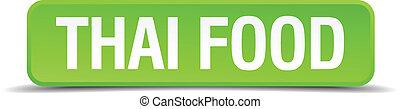 quadrato, cibo, bottone, isolato, realistico, verde, tailandese, 3d