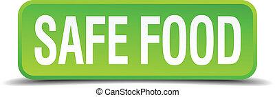 quadrato, cibo, bottone, sicuro, isolato, realistico, verde, 3d