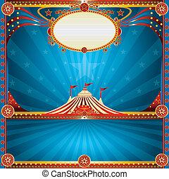 quadrato, circo, blu, scheda