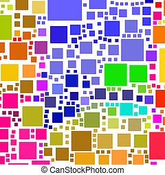 quadrato, colorito, lotti, astratto, forme, fondo., bianco