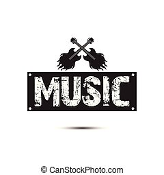 quadrato, cornice, chitarra, vettore, musica, fondo, roccia, immagine