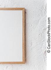 quadrato, cornice, manifesto, beffare, parete bianca
