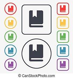 quadrato, frame., segnalibro, segno., simbolo, bottoni, vettore, rotondo, icona