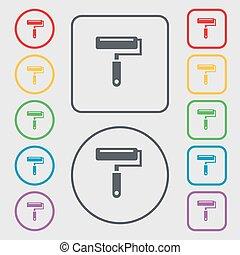 quadrato, frame., segno., simbolo, bottoni, vernice, vettore, rotondo, rullo, icona