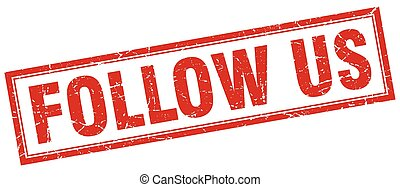 quadrato, grunge, francobollo, ci, seguire, bianco rosso
