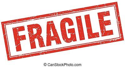quadrato, grunge, francobollo, fragile, bianco rosso