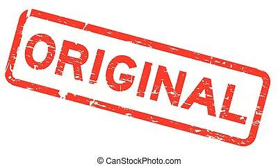 quadrato, grunge, francobollo, gomma, fondo, sigillo, bianco, originale, rosso