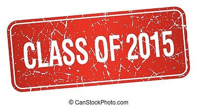 quadrato, grunge, francobollo, isolato, textured, 2015, classe, rosso