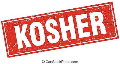 quadrato, grunge, francobollo, kosher, bianco rosso