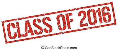 quadrato, grunge, francobollo, vendemmia, gomma, 2016, classe, rosso