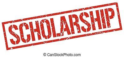 quadrato, grunge, francobollo, vendemmia, gomma, rosso, borsa di studio