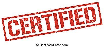 quadrato, grunge, francobollo, vendemmia, gomma, rosso, certificato