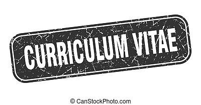 quadrato, grungy, nero, vitae, curriculum, segno, stamp.
