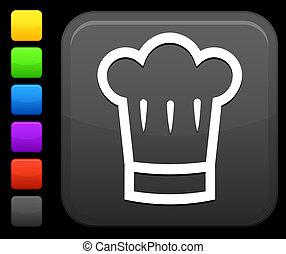 quadrato, icona internet, cappello, chef, bottone