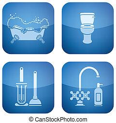 quadrato, icone, bathroo, cobalto, 2d, set: