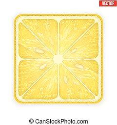 quadrato, illustration., lemon., isolato, fondo., vettore, fetta, bianco