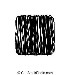 quadrato, illustrazione, fondo, vettore, nero, scarabocchio