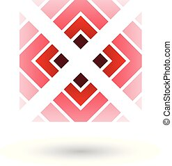 quadrato, illustrazione, vettore, rosso, lettera x, triangoli, icona