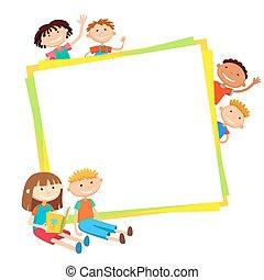 quadrato, intorno, bambini, manifesto, illustrazione, dietro, vettore, bunner, bandiera