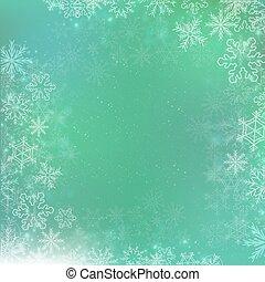 quadrato, inverno, pendenza, sfondo verde, bandiera, fiocco di neve
