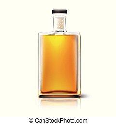 quadrato, isolato, whisky, bottiglia, vuoto, bianco