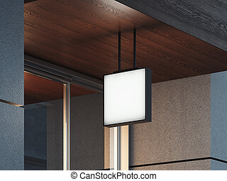 quadrato, legno, cartello, soffitto, rendering., bianco, 3d