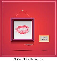 quadrato, lipstic, cornice, illustrazione, vettore, bacio