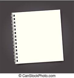 quadrato, mockup, coperchio, quaderno, sagoma, vuoto, ...