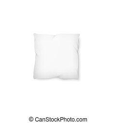 quadrato, mockup, -, isolato, vuoto, bianco, cuscino