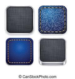 quadrato, moderno, app, sagoma, icons.