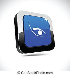 quadrato, occhio, button., 3d