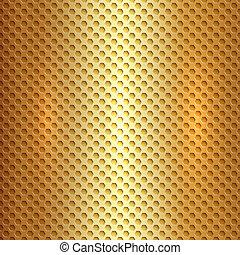 quadrato, oro, astratto, metallo, cellula, vettore, griglia, esagono