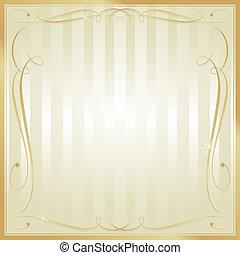 quadrato, oro, ornare, vettore, fondo, vuoto, abbronzatura, strisce
