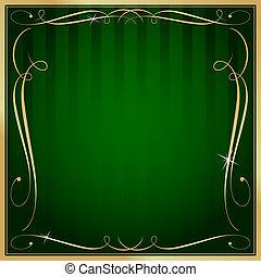 quadrato, oro, vuoto, vettore, sfondo verde, ornare, strisce