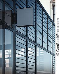 quadrato, parete, moderno, cartello, interpretazione, vuoto, windows., 3d