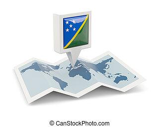 quadrato, perno, con, bandiera, di, isole solomon, su, il, mappa