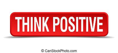 quadrato, positivo, bottone, isolato, bianco, pensare, rosso, 3d