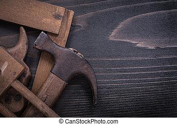 quadrato, righello, sega, obsoleto, superficie, mano, calibro, martello artiglio