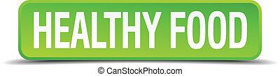 quadrato, sano, bottone, isolato, realistico, verde, cibo, 3d
