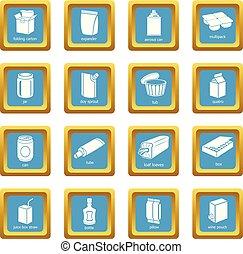 quadrato, set, icone, sapphirine, pacchetto, vettore, tipi