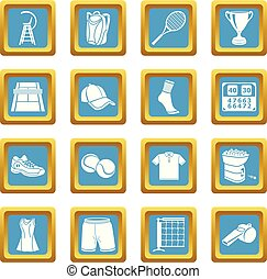 quadrato, set, icone, sapphirine, tennis, vettore
