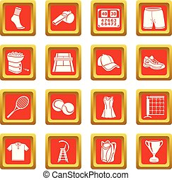 quadrato, set, icone, tennis, vettore, rosso
