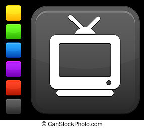 quadrato, televisione, icona internet, bottone