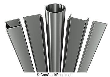 quadrato, travi, tubo, metallo, canali, tubo, fondo, bianco, angoli